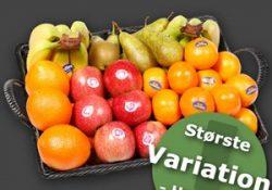 Frugtkasse med årstidens friske frugt fra Frugtkurven.dk